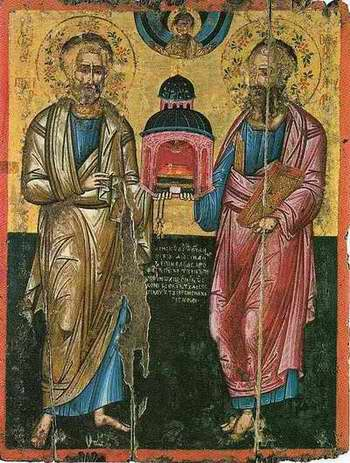 Икона апостолов Петра и Павла - Икона написана в 1640 году.  Кондак 1 Избраннии проповедницы Агнца Непорочнаго...