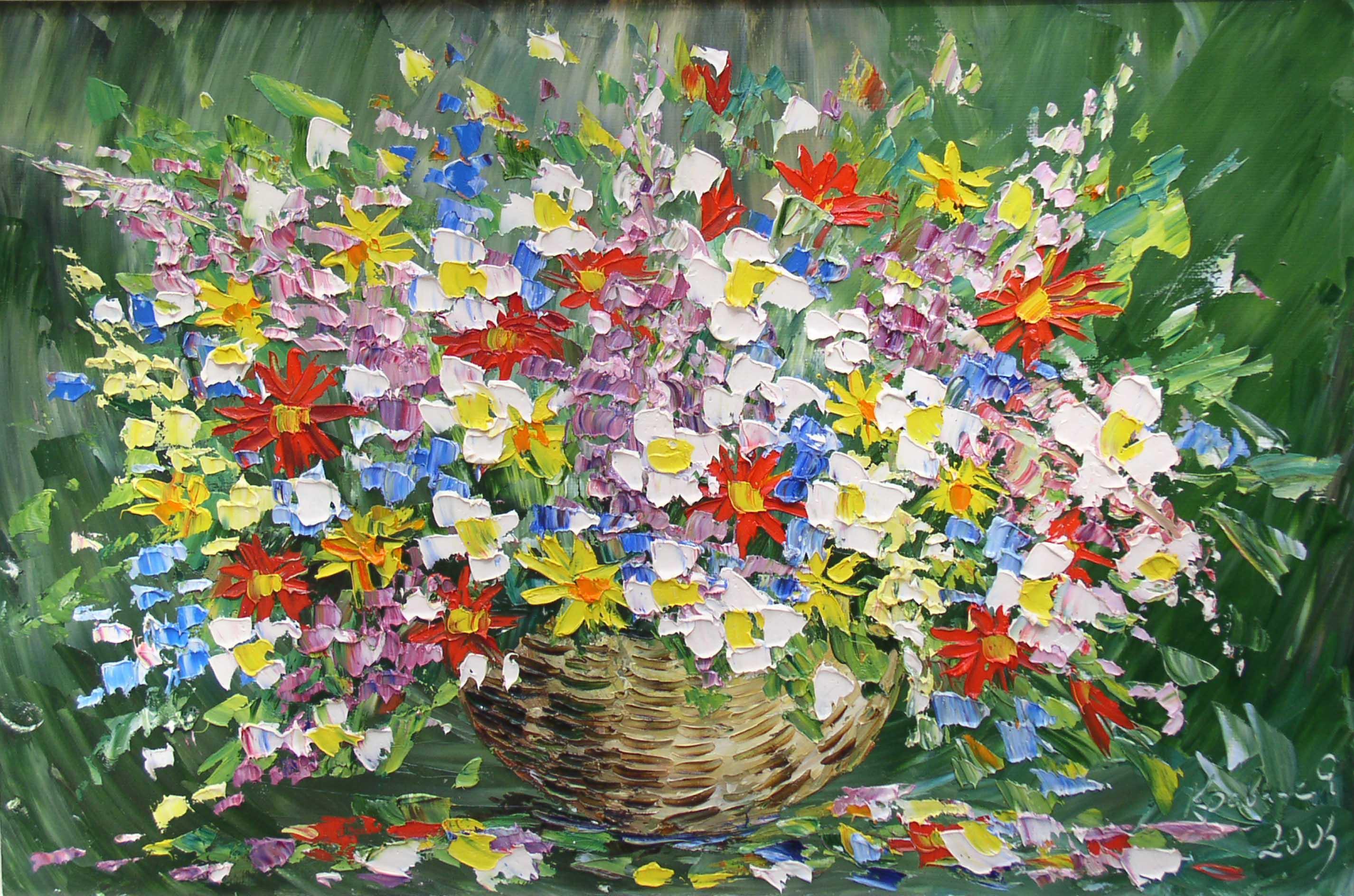 Открытка с полевыми цветами на день рождения 531